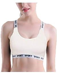 23831840e6c BJAC Women s New Pattern Motion Vest Bodybuilding Shockproof Bra Ice Silk  Ventilation (Removable Padded)