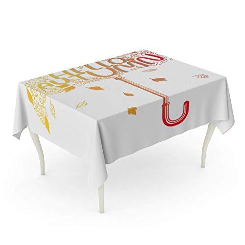 LIS HOME Rectángulo Mantel Resumen Paraguas Hojas y Letras Hola Otoño en otoño Colores Brillantes folletos tipográficos Más Manteles publicitarios
