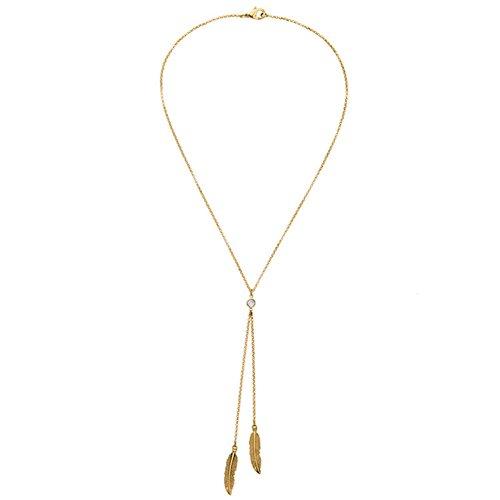 Lovinda Mädchen Frauen Gold überzogene Halskette Blatt Halskette Anhänger Schlüsselbein Kette Pullover Kette Billig Schmuck für Freundin Dame Geburtstagsgeschenk