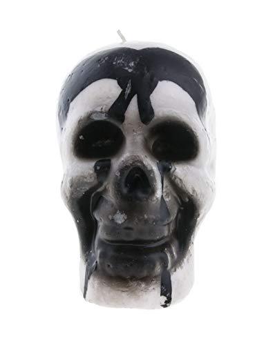 Whity Whiteman-Decoración de Halloween, decoración calavera vela, brilla en la oscuridad, color blanco