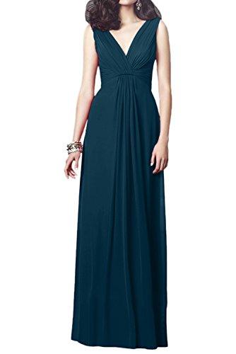 Milano Bride Elegant Rot V-Ausschnitt Abendkleid Festliche Kleider Lang Chiffon A-Linie Faltenwurf Tinte Blau