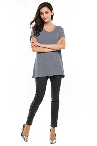 CRAVOG Damen Sommer Casual Baumwolle basic Lose T shirt Tank Tops Bluse Oberteile Grau