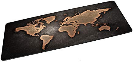 Genähte Kanten (Medo Gaming Mauspad, XXL World Map Muster, Gaming Mauspad, tragbare große Schreibtischunterlage, genähte Kanten & rutschfeste Gummiunterseite)
