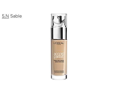 L'Oréal Paris - Fond de Teint Fluide Accord Parfait - Peaux Sèches à Normales - Teinte : Sable (5.N) - 30 ml