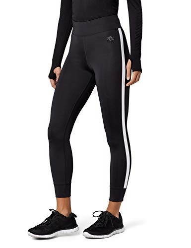 AURIQUE Damen Sport Leggings Side Stripe, Schwarz (Black), 34 (Herstellergröße: X-Small)