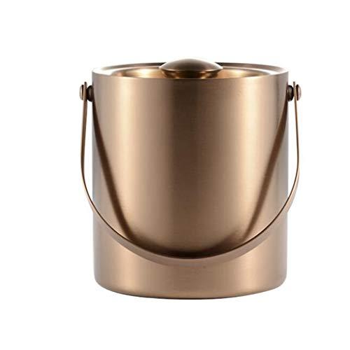 Eiseimer Edelstahl Doppel-Eiskübel Ktv Bar Champagnerfass Weinfass Bierfass Eiskübel Iced Beverage Barrel FANJIANI (Color : Rose Gold, Size : 2L) -