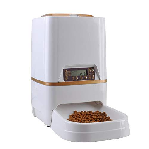 MUTANG Automatischer Katzenfutterautomat - 6L Futterautomat Hundefutterspender mit Zeit- und Mahlzeitgröße Programmierbar, LCD Display und Meal Call Recorder, 4 Mahlzeiten