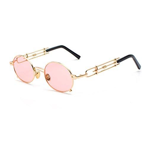 Huicai Gafas de sol Hombres y mujeres Gafas de marco de metal Circular Gafas de sol Espejo de recubrimiento Tono de gafas