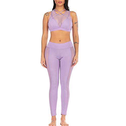 TTWOMEN Perspektive Sommer Yoga Elastische Hohe Taille Shorts Leggings Weste Sport Damen Casual Engen Fitness Set Tops + Pants (Lila, Medium)
