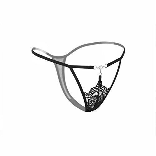 Lingerie Femmes Strings ficelle Lace bas-taille string sous-vêtements creux GongzhuMM (Pastèque rouge) Noir
