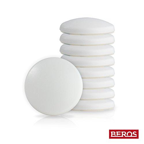 BEROS - 10 Stück Türpuffer-Set | Türstopper | Ø 40mm | Farbe: Weiß - Material: Kunststoff| Selbstklebend | Perfekter Schutz für Wand und Türklinke