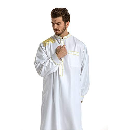 ALISIAM Kleidung Moslemische Kleidung der Männer Saudi-arabische Lange Hülse Thobe islamischer Jubba Thobe Man Kaftan NormallackRobe für Herren