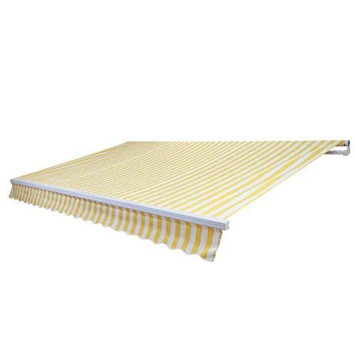 Mendler Alu-Markise HWC-E49, Gelenkarmmarkise Sonnenschutz 2,5x2m ~ Polyester Gelb/Weiß