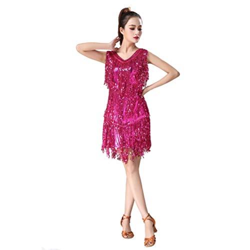 Jeelinbore donna vestito salsa nappe costume danza da ballo abito tango rumba valzer clubwear - rose (solo vestito), cn l