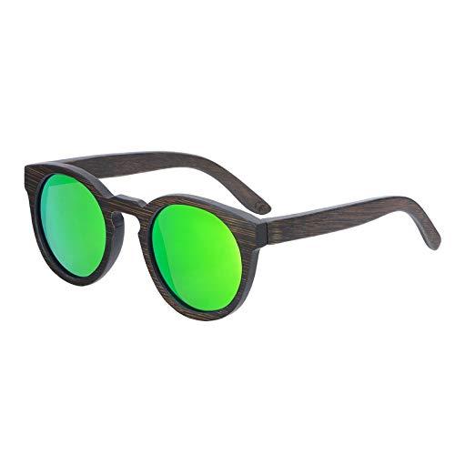 Zbertx Neue Runde Top Bambus Sonnenbrille Sonnenbrille Frauen Retro Designer Holz Sonnenbrille Männer Frauen,Grün