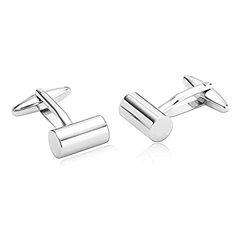 Adisaer Stainless Steel Cufflinks for Men Polished Cylindrical Silver Unique Business Wedding Cufflink