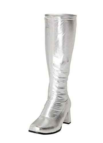 1970er Mode Jahren Kostüm - Damen Faschingstiefel GO GO 1960er & 70er Jahre Retro Größen 3-12, Silber - Silber - Größe: 45 EU