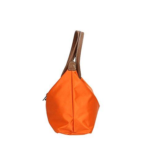CTM Borsa a Spalla da Donna in Finta Pelle e Tessuto �?33x22x10 Cm Arancione