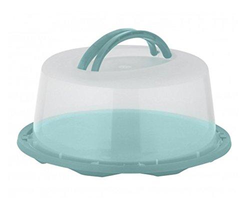 Meinposten Kuchenbehälter Rund Tortenbehälter Kuchenbox Tortenbox Ø 34 cm Transportbehälter (Türkis)