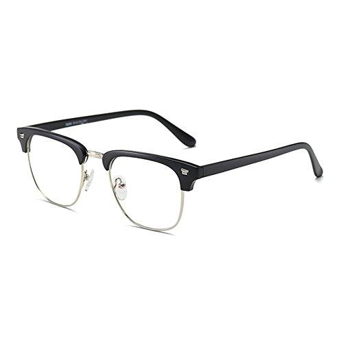 juqilu Brille Gegen Blaulicht - Unisex TR90 Ultraleicht Transparente Linsen Brillenfassung Retro Stil Quadrat für Computer/Smartphones/Tablets