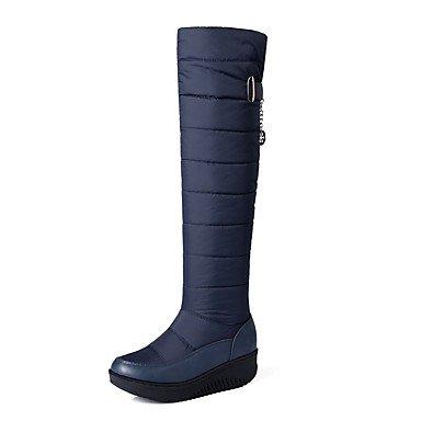 SANMULYH Scarpe Donna Nylon Winter Snow Boots Stivali Liane Round Toe Ginocchio Stivali Alti Per Casual Nero Blu Blue