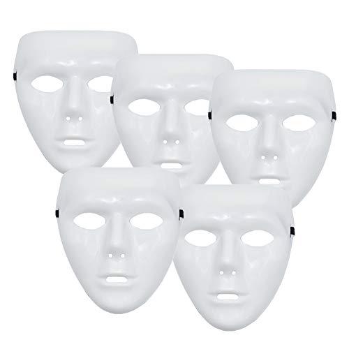 xvgjdz 5 STÜCKE Weiß Masken, Hip Hop Ghost Dance Erwachsene Kunststoff Volles Gesicht Dekorieren Handwerk Jabbawockeez Leistungen Maske für Kostüm - Hat Dance Kostüm