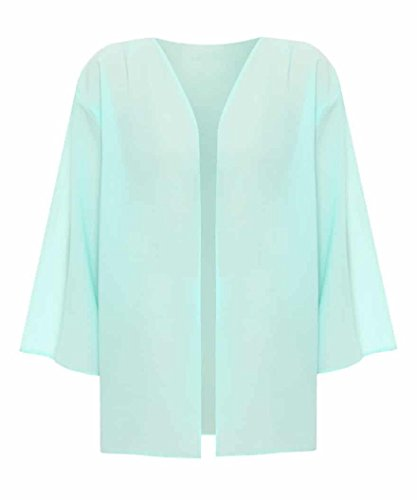 Top Fashion Kurvige Frauen Plus Size Licht lose Chiffon Sheer Kimono öffnen Cardigan EU-Größe 44-54 Mint