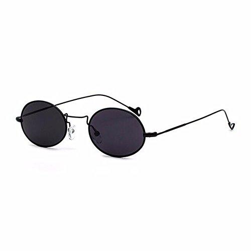 LXKMTYJ Oval Klein Sonnenbrille Koreanischen Wave Retro Persönlichkeit Sonnenbrille, Esche Schwarz