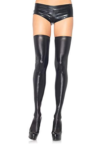 Leg Avenue Damen Wet Look Strumpfhose, schwarz, S