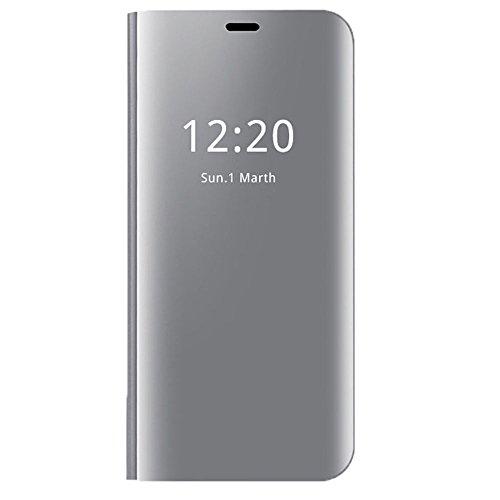 Wouier Carcasa Samsung Galaxy S7 Edge Flip Cover Soporte Plegable Cierre Magnético casa Delgado Metal Espejo Funda protección Duro Función (Plata, Samsung Galaxy S7 Edge)