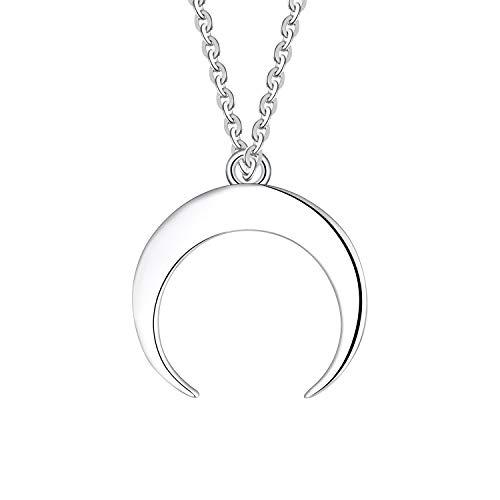 JO WISDOM Collar de Luna Creciente, Plata de ley 925,Colgante Media Luna, Joyería para Mujer (color oro blanco)