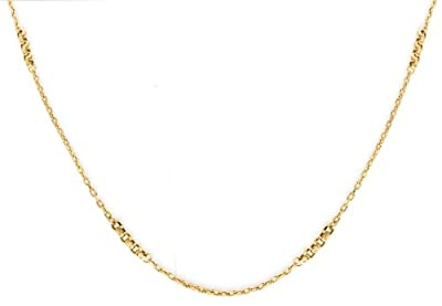 """Carissima Gold 9ct Yellow Gold Diamond Cut Rings Trace Chain Necklace of 61cm/24"""""""