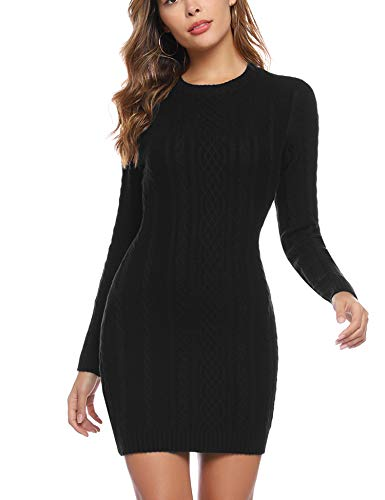 Aibrou Robe Pull Femme Chic Casual Mode Vintage à Manche Longues Col Haut Ultra Sexy Pull Dress Automne Hiver