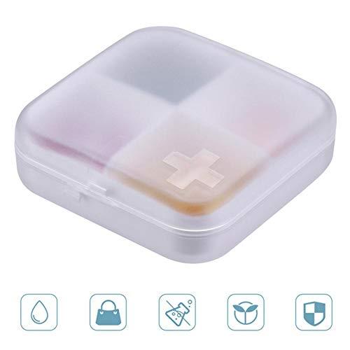 FOONEE - Pastillero Organizador de Viaje con 4 Compartimentos, dispensador de Pastillas, Almacenamiento de medicinas Cruzadas para vitaminas/Pastillas/Joyas/Andy
