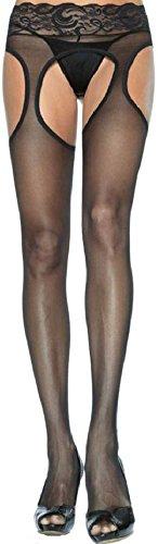 Leg Avenue Damen plus size Strapsstrümpfe mit Spitzen Strapsgürtel transparent schwarz Einheitsgröße ca. 42 bis 44