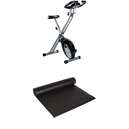 Ultrasport F-Bike, Fahrradtrainer, Heimtrainer, Schwarz/Silber + Fitness Multifunktionsmatte, Matte für Fitnessgeräte als Bodenschutzmatte für Crosstrainer