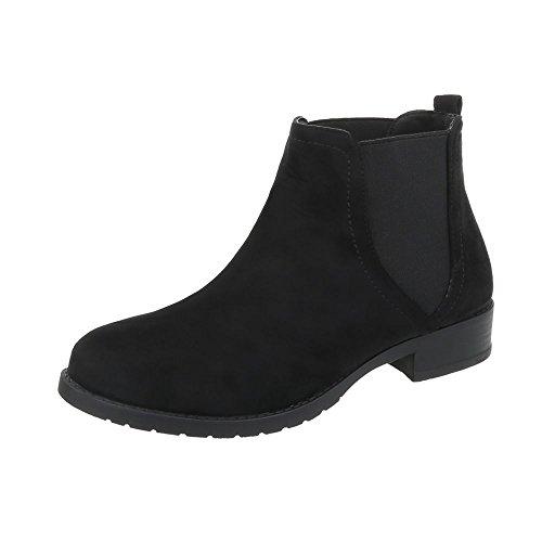 Chelsea Damen Schuh (Ital-Design Chelsea Boots Damen-Schuhe Chelsea Boots Blockabsatz Moderne Stiefeletten Schwarz, Gr 39, C-5-2-)