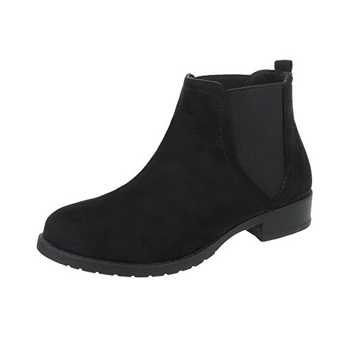 Ital-Design Chelsea Boots Damen-Schuhe Chelsea Boots Blockabsatz Moderne Stiefeletten Schwarz, Gr 39, C-5-2-