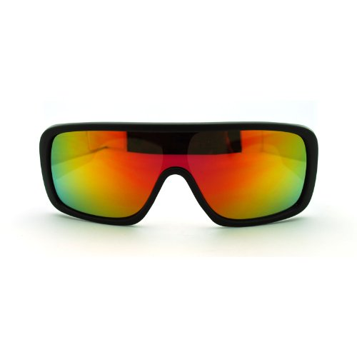 Futuristische Herren Hip-Hop Rapper Rechteckige Sonnenbrille Mono Linse Sport Sonnenbrille, Schwarz (Schwarz/Orange), Einheitsgröße