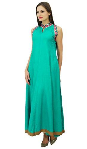 Bimba imprimé une ligne kurti maxi étage robe sans manches des femmes avec des Vert