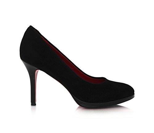 Wildleder Pumps schwarz mit 9cm Stilettoabsatz und roter Laufsohle Schwarz