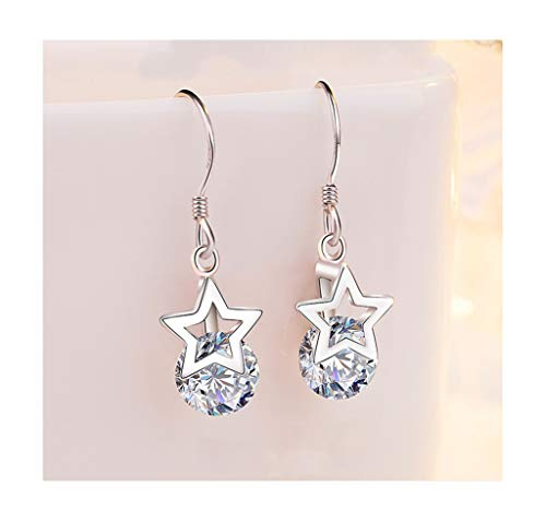 LYQZ 925 Silber Fünfzackigen Stern Ohrringe, Fünfzackigen Stern Mode Anhänger Eardrop für Damen/Mädchen