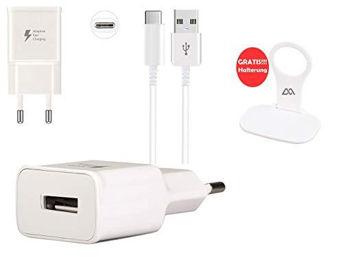 m2 3in1 Schnell Netzteil Ladegerät + 1m USB-C Kabel Datenkabel Ladekabel + Halter kompatibel mit Samsung Galaxy S8 S8 Plus S9 S9 Plus S10 S10 Plus S10e S10 Lite A20 A20e M20 A30 A40 A50 A70 A80 weiß