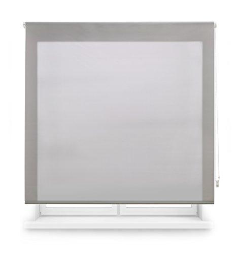 Blindecor Estor Enrollable Translucido Liso, Poliéster, Plata, 140 x 175 cm