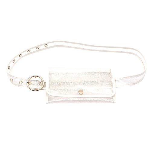 GNYD Damen Herren Gürtel Frauen Farben Taschen Mehrzweck Geldbeutel Gürteltasche Einkaufsführer Paket (Silber)