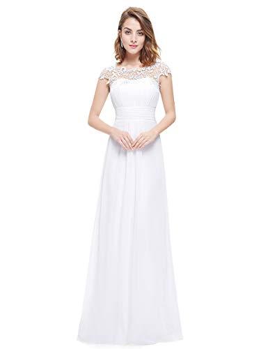 Ever-pretty vestito da sposa donna girocollo maniche corte pizzo chiffon lungo bianco 36