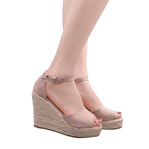 2019 Verano Sandalias Romanas Mujer, Zapato Peep-Toe Con Plataforma Cuña Alpargatas Zapatillas De Boda...