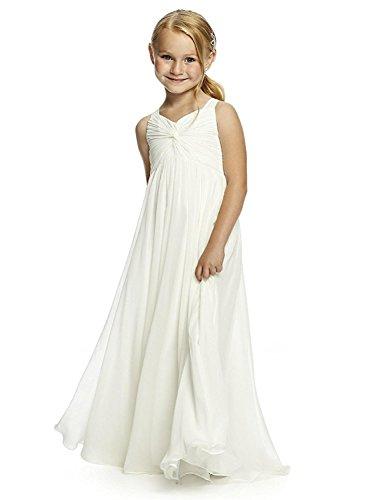 Izanoy Mädchen Chiffon Heilige erste Kommunion Blumenmädchen Kleid Junior Brautjungfer Kleid Weiß 16