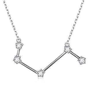 DAOCHONG Zodiac Constellation Necklace for Women 925 Sterling Silver Zodiac Sign Astrology White CZ Pendant Necklaces Birthday Gift ,Arise