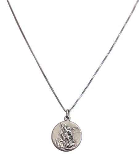 Medaille von St. Michael der Erzengel in 925 Sterling Silber mit 925 Sterling Silber Kette
